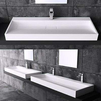 Durovin Bathroom Rectangle Stone Wall Mounted Or CounterTop Wash Basin Sink D819