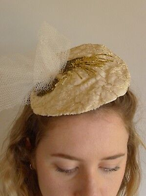 Vintage true 1940s tilt hat toque lace gold and cream, net and gold bead rosette