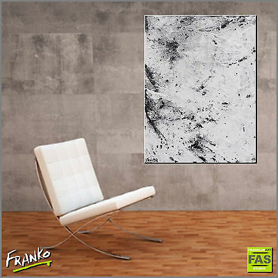 Abstract Art Painting Textured Black and White 75cm x 100cm -Franko - Australia