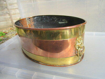 Vintage Brass & Copper Trough Tub Planter Plant Pot Lion Head Handle Antique Old
