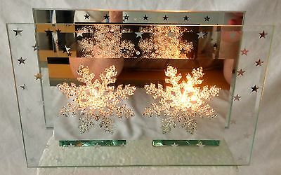 Christmas Mirrored Glass Double Tea Light Candle Holders