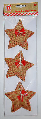 3 x Hessian Hanging Stars With Red Bow Traditional CHRISTMAS TREE DECORATIONS