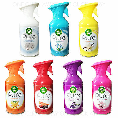 6 x Air Wick Airwick Pure Air Freshener Aerosol 250ml No Wet Spray Home Scent