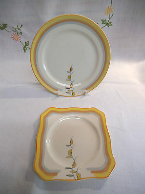 Two Art Deco Soho Pottery Side/Tea Plates - Solian Ware -Fashion Design - Yellow