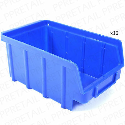 16 x STACKING STORAGE CONTAINERS Strong Deep Craft Tool/Parts Tidy Box/Tray/Tub