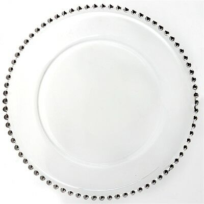 "8 Pack 12"" Glass Charger Plates Gold, Silver, or Clear Rim ~ Wedding ~"