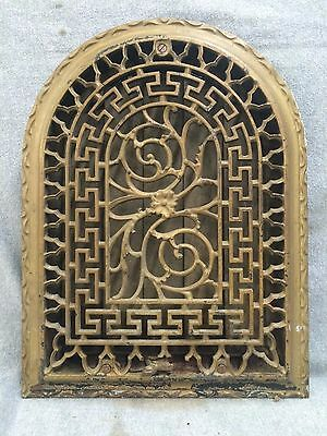Antique Cast Iron Arch Top Dome Heat Grate Wall Register Greek Key 1697-16