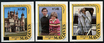Maldive Is. 1984 SG#1039-41 Royal Baby Thin Black Surch MNH Imperf Set#D34146