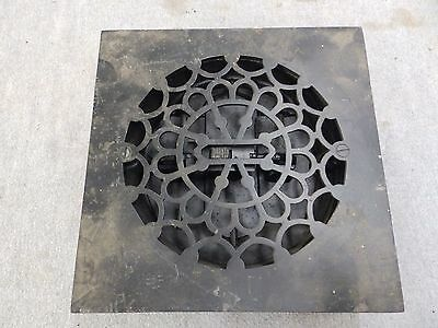 Vintage Square Cast Iron Heat Grate Vent Register, Black 1708-16