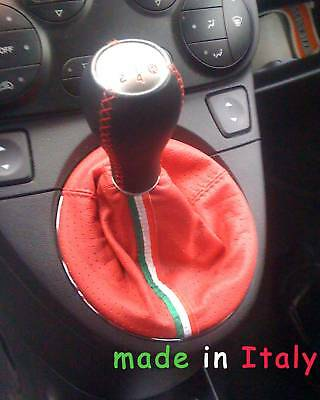 Fiat New 500-Panda Abarth Shift Boot Red Leather