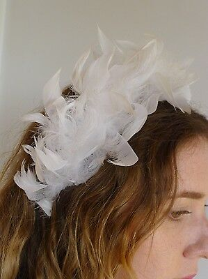 Vintage true 1960s white feather head band bandeau hat