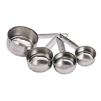 Kitchen Craft Stainless Steel Four Piece Measuring Cup Set. tagged
