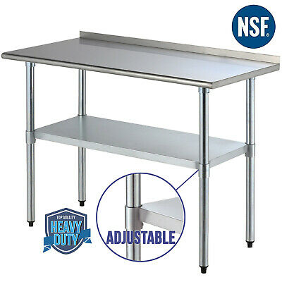 "24"" x 48"" Stainless Steel Work Prep Table Kitchen Restaurant with Backsplash"