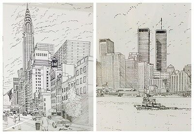 2 Steve McGee Signed Art Prints- One Of World Trade Center Twin Tower Buildings