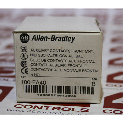 Allen Bradley 100-FA40 Auxiliary Contact Block, Front Mounting, 4 N.O - New S...
