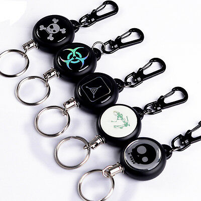 Retractable Pull Chain Reel Card Badge Holder Recoil Belt Metal Key Chain Clip