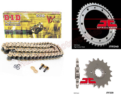 Honda VFR800Fi 1998 to 2001 DID Gold X-Ring Chain & JT Sprockets Kit Set