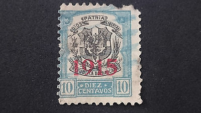 """1915-Dominican Republic-Type 1911-13 Overprinted """"1915"""" In Red-Sc 205 A25 10C-Me"""