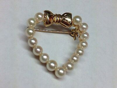 Heart Pearls And Bow 14K Yellow Gold Brooch Pin Or Pendant