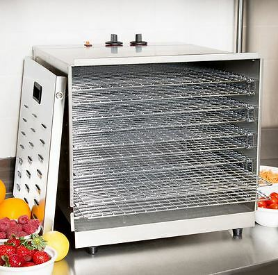 Electric Commercial Stainless Food Jerky Fruit Dehydrator Dryer, 10 Racks, 1000W