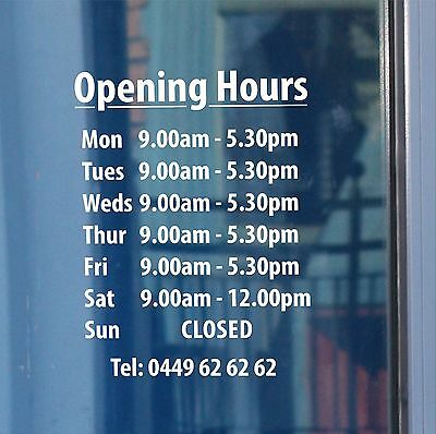 Opening hours times - A4 Shop Window Door Vinyl Sign Sticker Customised Letters