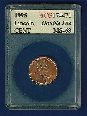 1995 Double die Lincoln cent high grade uncirculated full red in slab