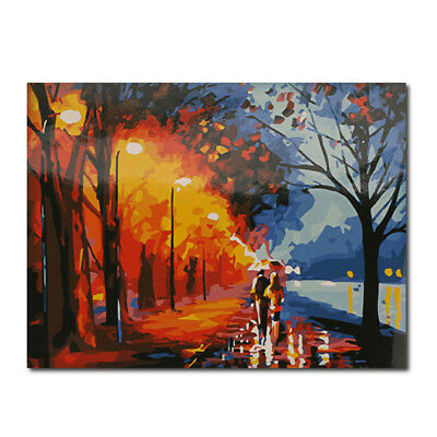 "20""*16"" Paint By Number Kit Digital Oil Painting Canvas Romantic Street Lights"