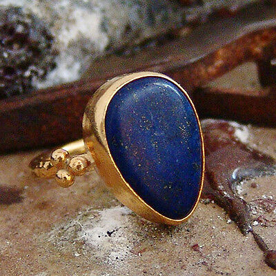 *free Size* Ancient Roman Art Drop Lapis Ring By Omer 24K Gold Over 925K Silver