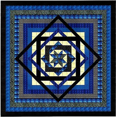 BLUE LABYRINTH QUILT TOP - Not Quilted, Machine Pieced, MADE IN THE USA