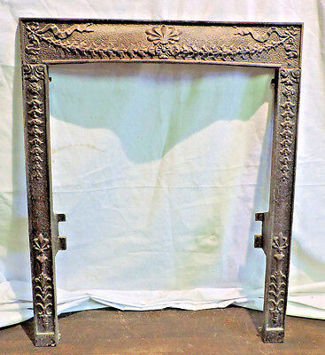 "Ornate Antique Cast Iron Victorian Fireplace Surround Fleur De Lis 24 3/8"" X 30"""