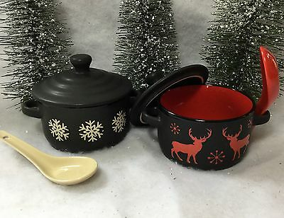 Lidded Soup Bowl White Snowflake Red Reindeer Winter Christmas Gift Spoon Lid