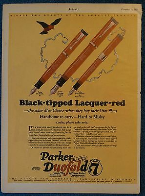 1926 PARKER PEN COMPANY Print Ad - Lucky Curve Duofold Black-Tipped Lacquer-Red