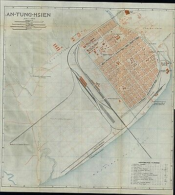 An Tung Hsien city plan China by North Korea 1913 scarce detailed color old map