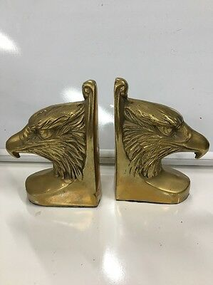 Pair of Vintage Brass Bald Eagle Head Bookends Highly Detailed