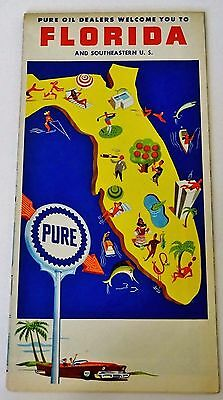 Vintage MAP Gas SERVICE Station ROAD Travel PURE FIREBIRD Oil 1960's FLORIDA FL