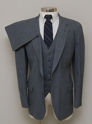 Vintage Mens 44R Richman Brothers 3 Piece Grey Wool Suit