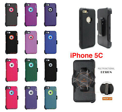 For iPhone 5C Defender Case With Screen Protector & Holster [Clip Fits Otterbox]
