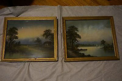 Antique Pastel Paintings 2x Pair of Landscapes Gold Gilt Frames 1800s American?