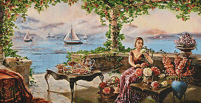 "30"" Silk & Cotton Needlepoint Art  Woven Painting Tapestry: Countess At Seaside"