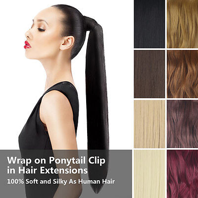 Pony Tail Wrap on Ponytail Clip in Hair Extensions Synthetic Straight Wavy