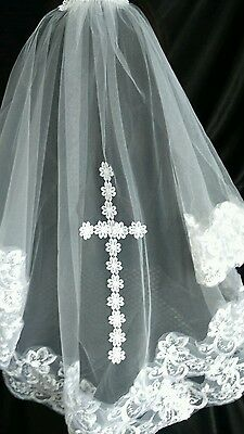 2 Tier White Embroidered Lace Cross Wedding Veil Bridal Holy Communion Veil