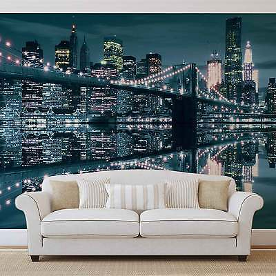 New York City Skyline Brooklyn Bridge WALL MURAL PHOTO WALLPAPER (3022DK)