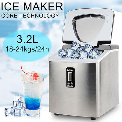 Automatic 3.2L Ice Cube Maker Portable Machine With LCD Commercial Home Fast