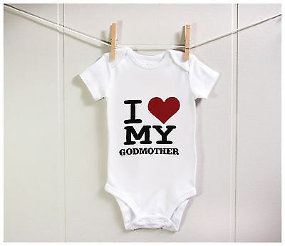 New Funny 100% Cotton I Love My Godmother Baby Bodysuit Grow Gift Nontoxic Ink