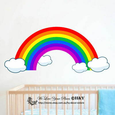 Rainbow Clouds Wall Sticker Kids Nursery Baby Decor Vinyl Decal Art Mural Gift