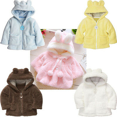 Newborn Baby Boy Girl Kid Hooded Fur Coat Winter Warm Thick Cloak Jacket Clothes