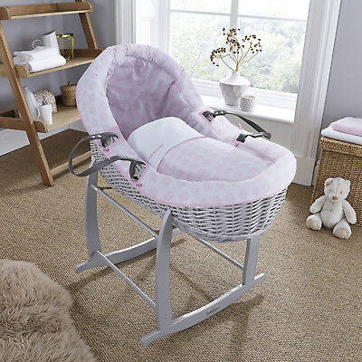 New Clair De Lune Pink Speckles Grey Wicker Willow Bassinet Baby Moses Basket