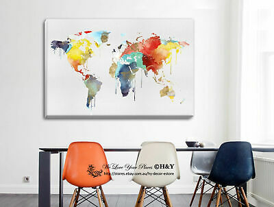 World Map Stretched Canvas Print Framed Wall Art Home Office Decor Painting Gift