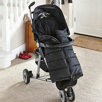 New Clair De Lune Black Cocoon Fleece-Lined Pushchair Footmuff Baby Cosytoes