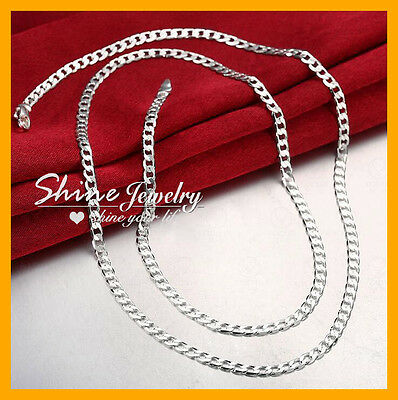 925 Sterling Silver 4Mm Diamond Cut Flat Curb Chain Necklace Mens Womens Gift